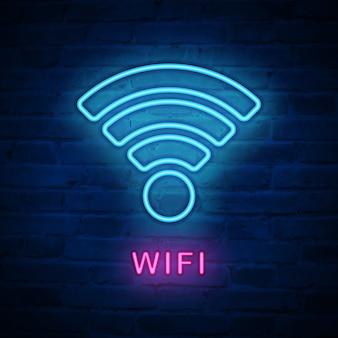 Verlichte neonlichtpictogram wifi internet