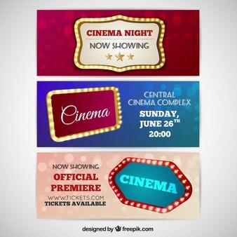 Verlichte ondertekenen cinema banners