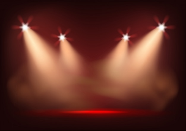 Verlichte podium met felle lichten. sjabloon voor presentatie