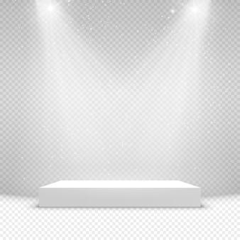 Verlichte podiumachtergrond met voetstuk