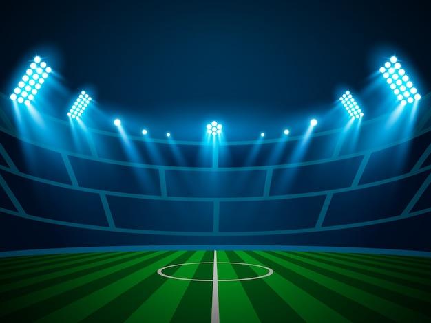 Verlichte stadion lichte schijnwerperscène