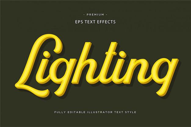 Verlichting 3d gouden teksteffect - 3d gouden tekst stle