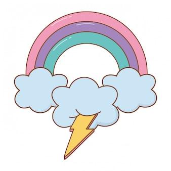 Verlichting en wolk met regenboog
