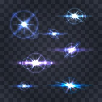 Verlichting flare collectie op een transparante achtergrond. vector illustratie