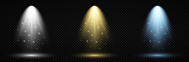 Verlichting met schijnwerper. set van drie scèneverlichtingseffecten met koud wit, geel en blauw licht op een donkere transparante achtergrond. vector illustratie