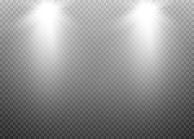 Verlichting met schijnwerpers lens flitslichteffect