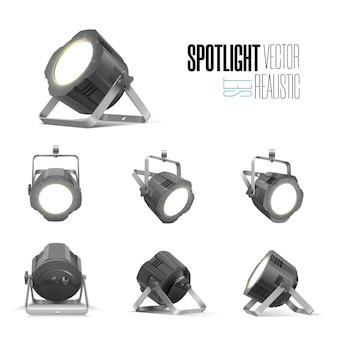 Verlichtingsapparatuur voor een interview van een showwedstrijd of tentoonstellingspaviljoen. vloerspot en hangende projectoren. set lampen in schijnwerpers met verschillende kijkhoeken Premium Vector