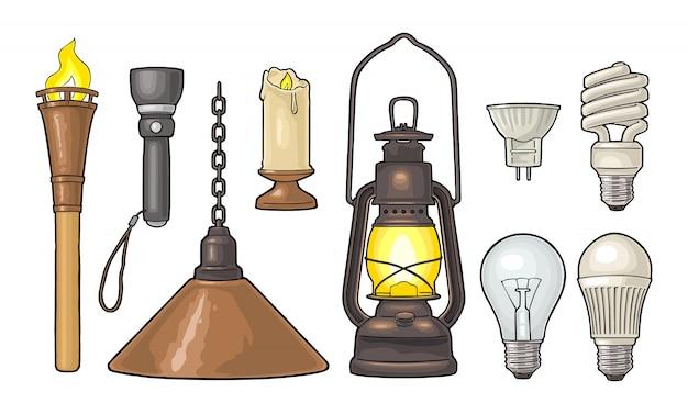 Verlichtingsobject instellen. zaklamp, kaars, zaklamp, verschillende soorten elektrische lampen
