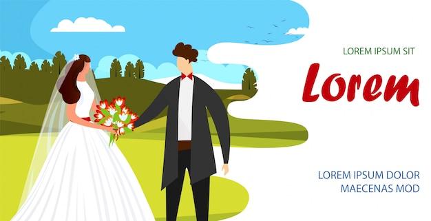 Verliefd gelukkig paar bruid en knappe bruidegom.