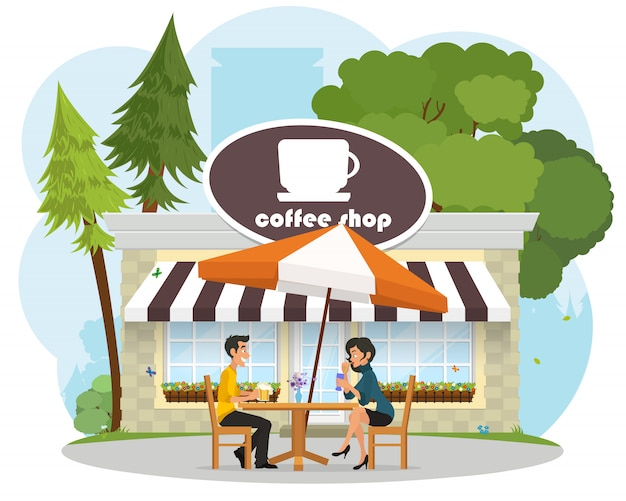 Verliefd stel jonge mensen op een date in een café in het park.