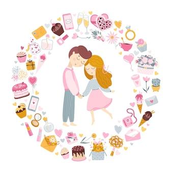 Verliefd stel. jongen en meisje houden elkaars hand vast. een cirkel gemaakt van feestelijke elementen.