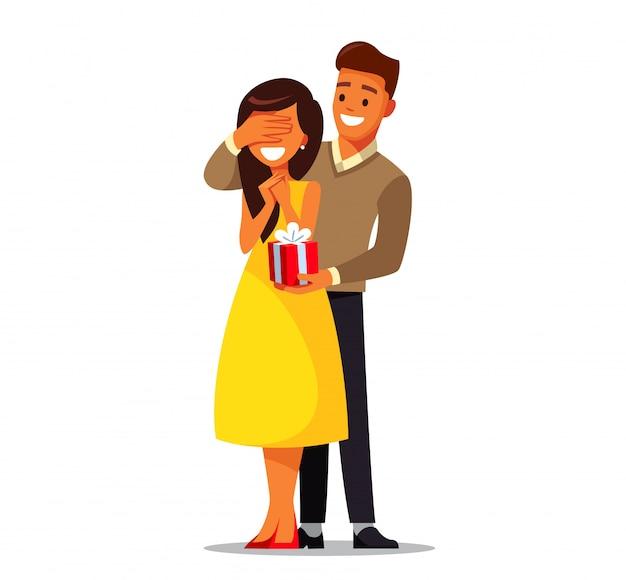 Verliefd stel. man geeft een vrouw een geschenk. illustratie.