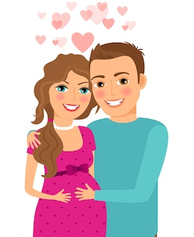 Verliefd stel. zwangere vrouw met haar echtgenoot. getrouwd en lach, relatie en romantisch. vector illustratie