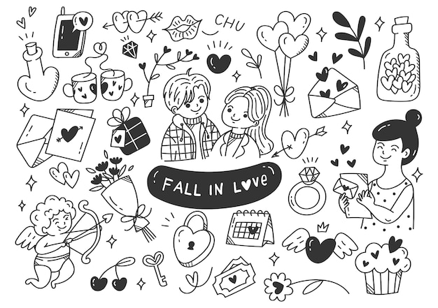 Verliefd worden paren doodle illustratie