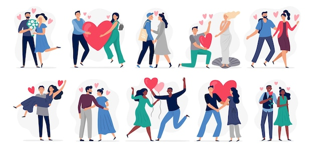 Verliefde mensen. vector illustratie set. vrouw en man.