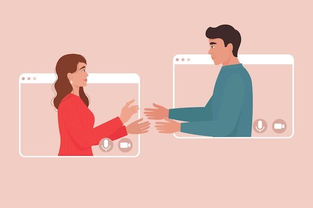 Verliefde paar in videogesprekframes online dating verjaardag kerstmis nieuwjaar valentijnsdag meeting videoconferentie concept