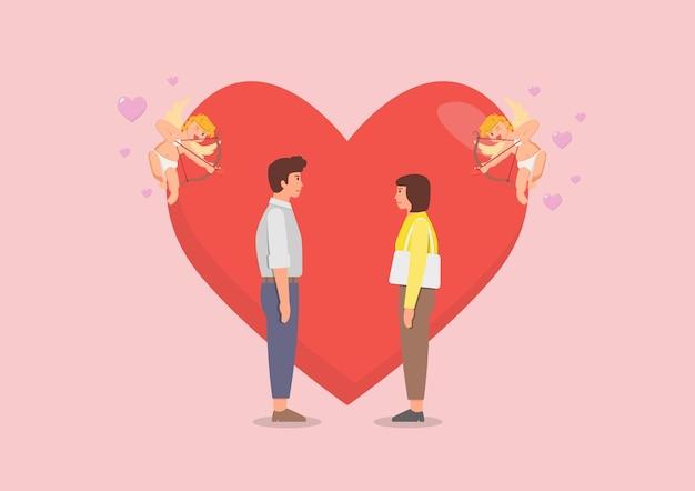 Verliefde paar met cupido's bereiden zich voor om zijn boog te schieten. illustratie