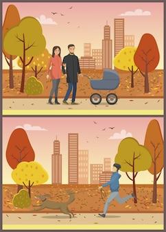 Verliefde paar met pram family park set