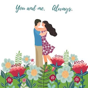 Verliefde paar onder veelkleurige bloemen