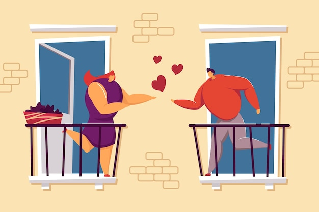 Verliefde paar op balkon vectorillustratie. romantisch paar buiten. liefdevolle man en vrouw die genegenheid tonen. liefde, romantiek concept voor website-ontwerp, advertentie of bestemmingspagina.