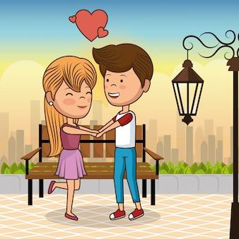 Verliefde paar op park stoel