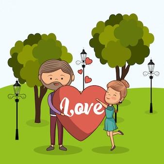 Verliefde paar op park