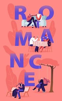 Verliefde paar romantiek sparetime concept. jonge mannen en vrouwen besteden tijd samen dating thuis en in het restaurant, cartoon vlakke afbeelding
