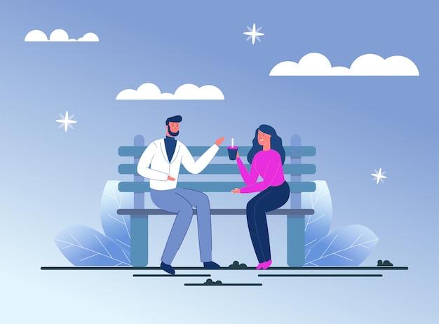 Verliefde paar zitten en dating op bankje.