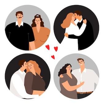 Verliefde paren rond avatars