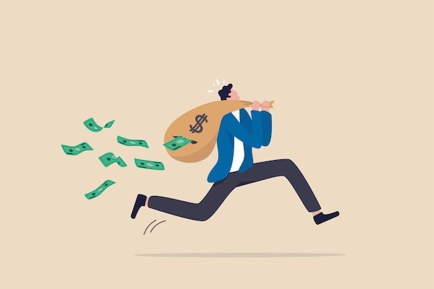 Verlies geld terwijl je probeert uit de aandelenmarkt te komen in crisis of recessie, investeringsrisico of fraude, beleggingsfondsuitgaven en kostenconcept, zakenman die met geldzak loopt, bankbiljetten vallen uit het gat.