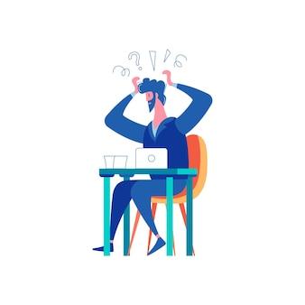 Verliezer mislukking succes winnende compositie van zakenlieden met een ongelukkige man die aan tafel zit en zijn hoofd vasthoudt