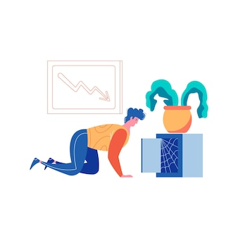 Verliezer mislukking succes winnende zakenlieden samenstelling met man op zoek naar lege kluis