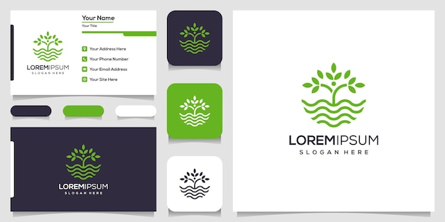 Verlof en watergolflogo met lijntekeningen. golf en natuurlogo. logo-ontwerp en visitekaartje