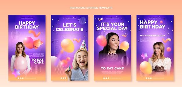 Verloop abstracte vloeibare verjaardag instagram-verhalen