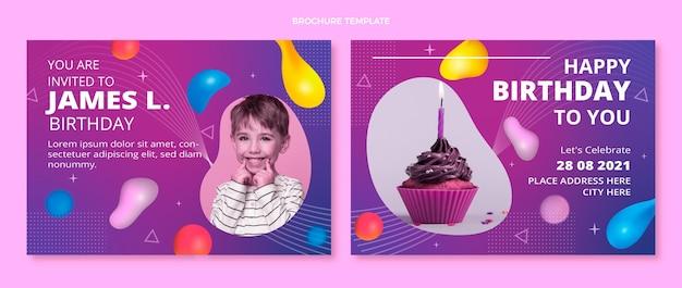 Verloop abstracte vloeibare verjaardagsbrochure