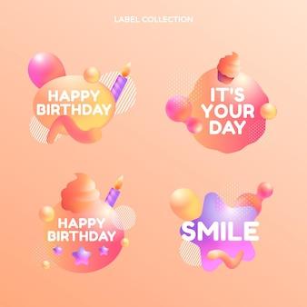 Verloop abstracte vloeibare verjaardagslabels