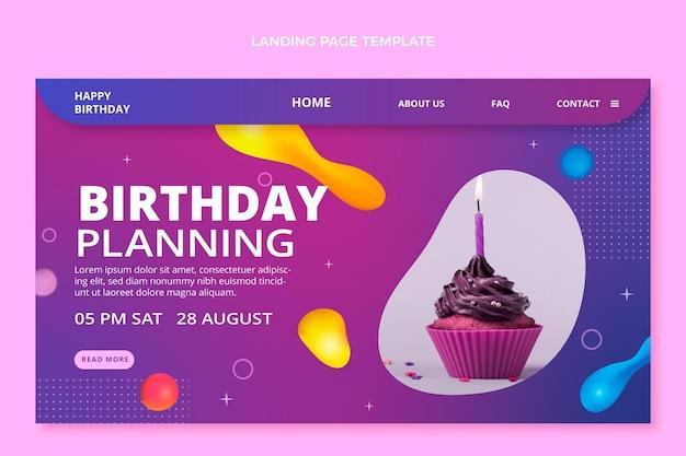 Verloop abstracte vloeiende verjaardag bestemmingspagina