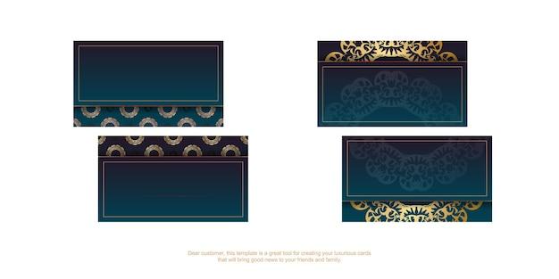 Verloop blauw visitekaartje met grieks gouden patroon voor uw bedrijf.
