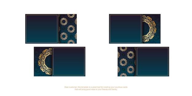 Verloop blauw visitekaartje met grieks gouden patroon voor uw contacten.