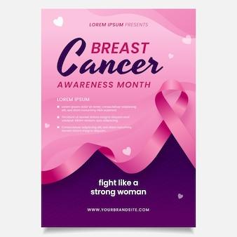Verloop borstkanker bewustzijn maand verticale poster sjabloon