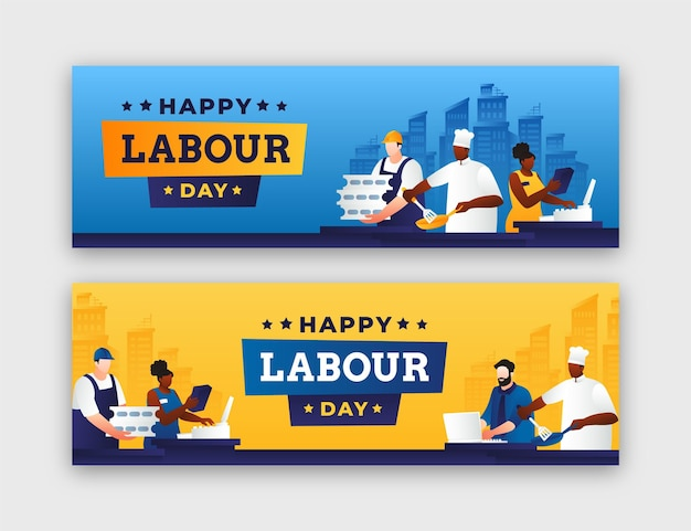 Verloop dag van de arbeid banners instellen