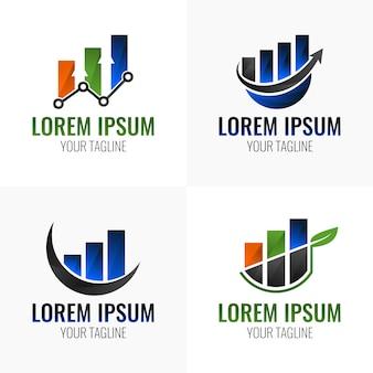 Verloop diagram grafiek logo set