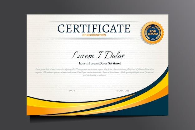 Verloop elegant certificaat van erkenning sjabloon