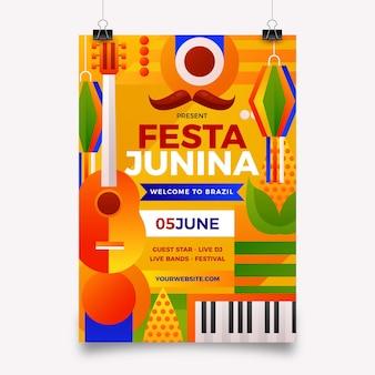 Verloop festa junina verticale poster sjabloon