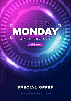Verloop futuristische cyber maandag verticale postersjabloon