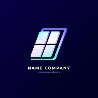 Verloop gekleurd glas logo sjabloon