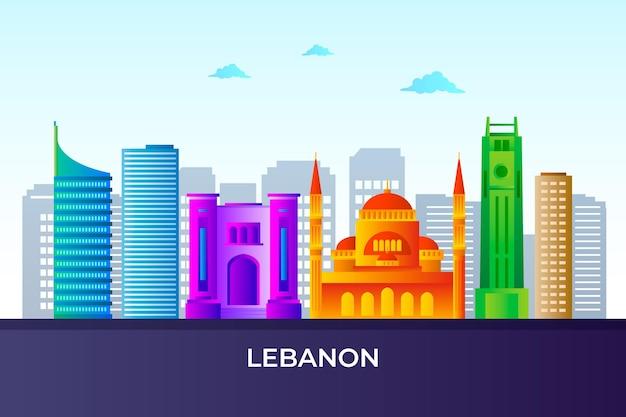 Verloop gekleurde skyline van libanon