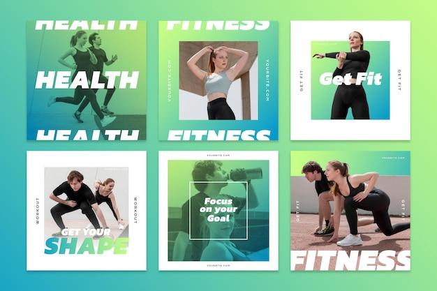 Verloop gezondheid en fitness instagram posts collectie met foto