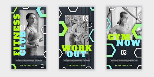 Verloop gezondheids- en fitnessverhalencollectie met foto Gratis Vector