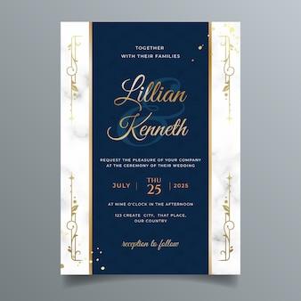 Verloop gouden luxe bruiloft uitnodiging sjabloon